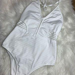 • No Brand • White Striped One Piece Swim Suit